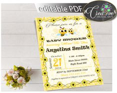 Baby Shower INVITATION editable with yellow bee, instant download - bee01 #babyshowergifts #babyshowerideas
