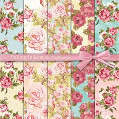 FALLING+IN+LOVE++Digital+Paper+Scrapbook+Paper+by+HajDesign,+$3.50: for kitchen cabinets