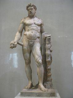 Hercules (Heracles), Roman statue (marble) copy of Greek original, 2nd century AD (original 4th c. BC), (Hermitage, St Petersburg).