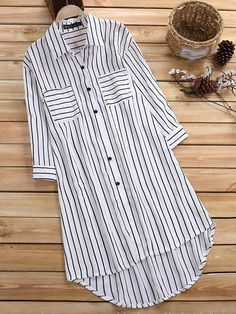 Leisure Cross Stripe Pockets Half Sleeve Women Blouse look not only special, but also they always show ladies' glamour perfectly and bring surprise.Newchic - Fashion Chic Clothes Online, Discover The Latest Fashion Trends MobileFashion women clothes Kurti Designs Party Wear, Kurta Designs, Blouse Designs, Half Sleeve Women, Half Sleeves, Shirt Sleeves, Kurti With Jeans, Mode Ab 50, Hijab Fashion