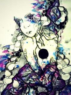 5x7 inch Galaxy inspired art illustration portrait art