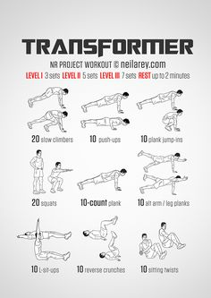 Transformer Workout - same as spiderman but switches spider push-ups for regular
