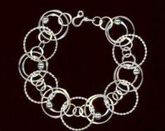 Argent sterling grande chaîne Bracelet cercles perlés Wire Jewelry cercle tordu martelé Bracelet chaine