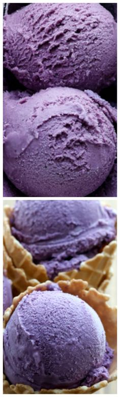 Blueberry Ice Cream ~ Creamy homemade blueberry ice cream bursting with flavor!