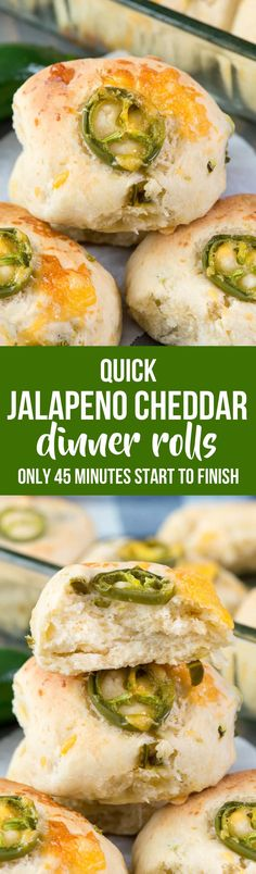 Quick Jalapeño Cheddar Rolls - this easy dinner roll recipe is made in under 45 minutes! The rolls are full of jalapeños and cheddar cheese and are the perfect side dish. Homemade rolls are always better! via @crazyforcrust
