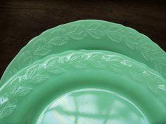 Jadite McKee  Dinner Plates  Laurel Pattern