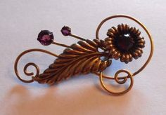 Amethyst 12K Gold Filled Vintage Jewelry Pin Brooch 1930's Floral    4430 #Unbranded