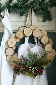A while back I tagged along with my mother-in-law to a holiday craft day at her church and I made this rustic wood wreath out of slices of. Christmas Chalkboard, Rustic Christmas, Christmas Crafts, Christmas Decorations, Holiday Wreaths, Holiday Crafts, Holiday Decor, Wood Slice Crafts, Wooden Wreaths
