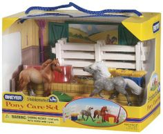 Breyer Pony Care Play Set by Breyer. $29.74. NEW. Stablemates. Hand Painted. Ponies and kids make the best pals. Pony care set. From the Manufacturer Ponies and kids make the best pals and the Breyer Stablemates pony Care Set is a great place to learn the basics of horse care. This red roan Highland Pony and dapple grey Shetland Pony are pasture pals who are enjoying a relaxing day in their paddock. They have carrots to snack on, hay to much and a...
