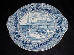 "Johnson Bros Blue Wht Transferware Historic America Tab Handled Cake Plate 9.5"""