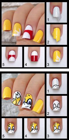 And this Tails one: | 25 Gloriously Geeky Nail Art Tutorials