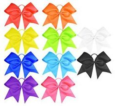 cc2bd4a1c778 Mounted on no metal elastic pony holder. Perfect for team cheer leading.  Contact us if you need certain color bows. It takes weeks for customized  order.