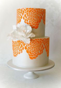 Orange Floral Print Cake | My Dream Wedding