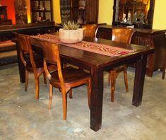 Furniture, Fascinaing Reclaimed Teak Dining Table Design Vintage Dining Room Interior ~ Amazing Teak Dining Table