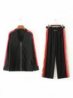 SheIn - SheIn Raglan Sleeve Striped Side Coat With Drawstring Pants - AdoreWe.com