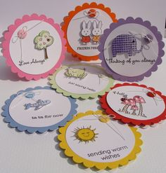Scallop Circle Punch and Circle Punch layered Card Candy - Simple card embellishments. How cute and easy! Candy Cards, Small Cards, Scrapbook Embellishments, Card Tags, Creative Cards, Kids Cards, Cute Cards, Scrapbook Cards, Stencil