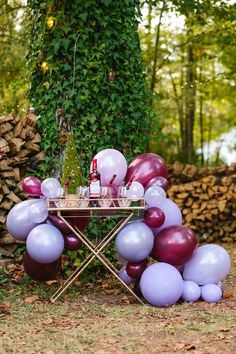 Balloon garland beverage table from a Floral Woodsy Wonderland Party | Dessert Table on Kara's Party Ideas | KarasPartyIdeas.com (31)
