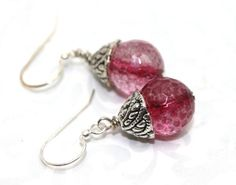 Faceted Cherry Quartz and Bali Silver Earrings   AyaDesigns - Jewelry on ArtFire