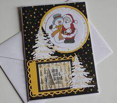 carte de voeux double blanche faite main fond noir et jaune