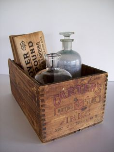 Vintage Wooden Ink Box