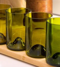 Recycled Green Ombre Glasses // This set of four tumblers is hand-crafted from recycled wine bottles #productdesign