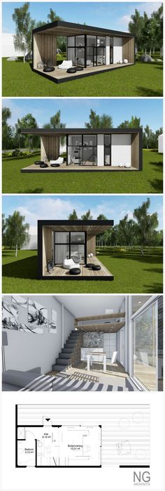 Pacific - 25 m small house (attafallshus) designed by NG architects for Compact . - Pacific – 25 m small house (attafallshus) designed by NG architects for Compact Living Nordic - Container House Design, Tiny House Design, Small Home Design, Building A Container Home, Container Buildings, Container Architecture, Compact Living, Compact House, Shipping Container Homes
