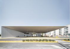 Spanish architects Manuel Lillo and Emilio Vicedo have completed a bus station in the town of Santa Pola with a huge tapering metal roof .