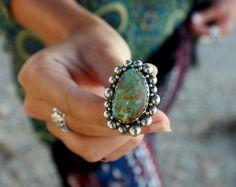 Turquoise Statement Ring Big Turquoise Ring Boho by SterlingToLove Bohemian Jewelry, Jewelry Art, Fashion Jewelry, Boho, Big Rings, Wild Style, Turquoise Rings, Gypsy Style, Statement Rings
