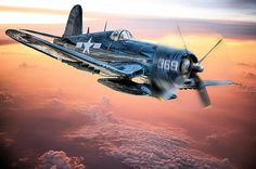 A Marine Corps F4u Corsair flies home after a mission in the South Pacific.