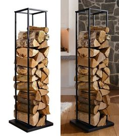 Compact Montebello Log Rack keeps a handy supply of firewood and kindling by your hearth. Attractive storage for indoors or out. Firewood Stand, Firewood Rack, Firewood Storage, Metal Furniture, Industrial Furniture, Furniture Design, Front Door Design, Fireplace Design, Inspired Homes