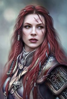 Female warrior / knight with red hair and scars RPG character inspiration Fantasy Warrior, Fantasy Rpg, Medieval Fantasy, Fantasy Artwork, Celtic Fantasy Art, Fantasy Art Angels, Fantasy Women, Fantasy Girl, Character Portraits