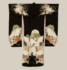 A silk furisode featuring yuzen-dyed cranes, with additional embroidery highlights. Late Meiji period (1880-1911), Japan. The Kimono Gallery