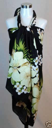 4c0e66a82bd4 Cool Party Dress Jumbo Plus Size Tropical Cruise Beach Luau Sarong Wrap  Dress Pareo Black Flower .