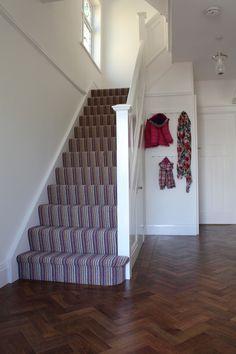 1930s hallway & stairs. Karndean parquet floor, Crucial Trading stripy carpet.