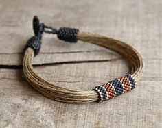 Nautical mens bracelet natural linen bracelet for by Naryajewelry