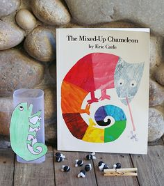 Fine Motor & Counting Activity for Eric Carle's The Mixed Up Chameleon (with FREE printable chameleon pattern)~ Buggy and Buddy
