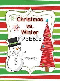 FREE Christmas vs. Winter Activities (PDF & SmartBoard files): K-1st