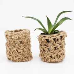 chunky crocheted plant cosy - hardtofind.
