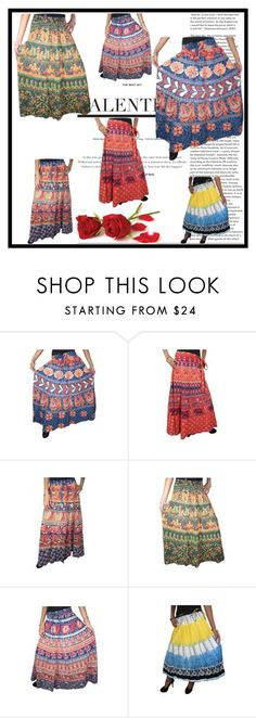 """Printed Boho Indian Maxi Skirt"" by era-chandok ❤ liked on Polyvore"