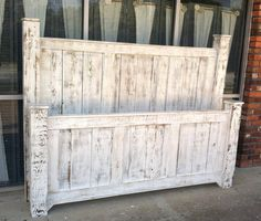 Distressed headboard and footboard made from two old doors | For ...
