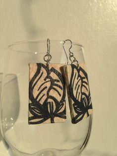 Beige & Navy Handmade Hanji Paper Dangle Earrings by HanjiNaty, $14.00