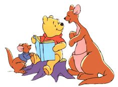 Winnie the pooh reading a book to his friends two kangaroos