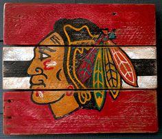 Chicago Blackhawks Hockey Vintage looking by HotShotPalletworks