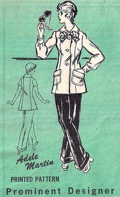 Prominent Designer M158 Darling Jacket & Cuffed Pants 1970's - Designer Adele Martin