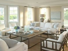 Love the seating arrangement in this beach house living room and everything else. P.S. If anyone knows the source of this image please let me know. Thank you! Related