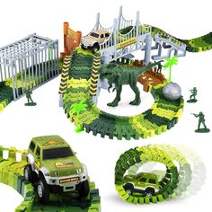 Elongdi Dinosaur World Slot Car Race [ 144 Track Pieces ] Create a Road Track Sets with Tracks, 2 Trucks, 2 Dinosaurs Toys for Kids 3 4 5 6 7 8 Years Old Boys Girls Jurassic Prehistoric World Gift -- Read more reviews of the product by visiting the link on the image. (This is an affiliate link)