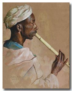 Max Moreau (1902-1992) - Le Jeune Flûtiste gnaoua, Marrakech, 1950, aquarelle & gouache, 62 x 48 cm