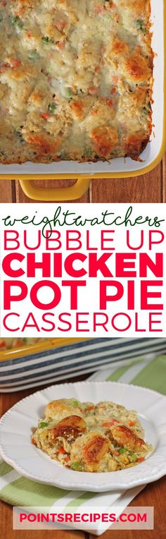the traditional chicken pot pie that is healthy enough for weight watchers! yes, you can still eat the deliciousness of vegetables with chicken in a cream sauce and biscuit topping with this lightened up version