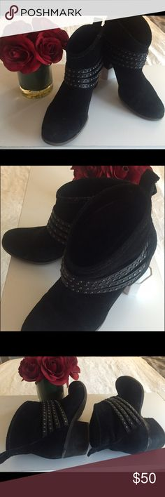 """💁🏼 Jessica Simpson Black Ankle Boots Incredibly comfortable, well loved JS boots! Heel is no more than 2"""". Shoes are broken in and have noticeable wear, but still have many years of life in them! Cute, decorative studded straps cross the front of the shoe. I believe the material is suede (I wasn't able to confirm online). A favorite pair of shoes! Would love if they find another home to take great care of them. ❤️ Jessica Simpson Shoes Ankle Boots & Booties"""