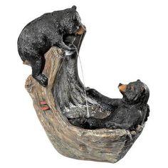 Bathing Black Bear Cubs Cascading Garden Fountain